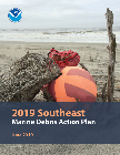 A cover page of the southeast marine debris action plan, featuring the title and a mixture of debris on a beach. Credit: NOAA