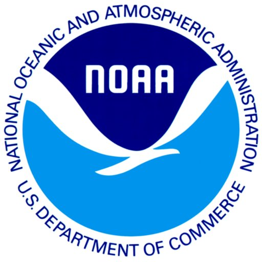 The National Oceanic and Atmospheric Administration logo with a blue background and white bird